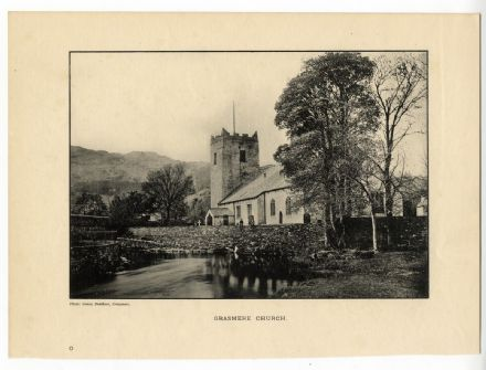 1896 Antique Print GRASMERE CHURCH Westmorland LAKE DISTRICT Cumbria